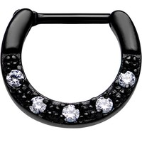 "16 Gauge 5/16"" Clear CZ Black IP Paved Crescent Septum Clicker 
