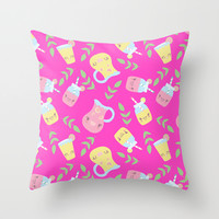 HOT PINK SUMMER (SUMMER COLLECTION) Throw Pillow by Claudia Ramos Designs