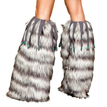 Leg Warmer with Beaded Fringe - As Shown