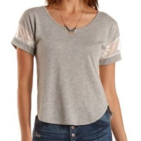 Embroidered Mesh-Trim High-Low Tee by Charlotte Russe - Fawn
