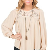 Flying Tomato Women's Nude with Lace Inset Long Sleeve Peasant Top