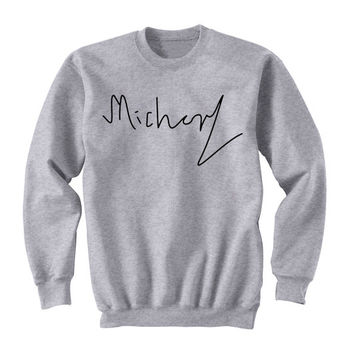Michael Clifford Signature Sweatshirt, 5SOS, Michael Clifford Sweater, 5 Seconds of Summer, Crew Neck Sweater, Band Shirt, Band Merch Tumblr
