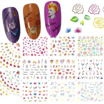 1 Set 11 Designs 3D Nail Art Tips New Colorful Flower Rose Beauty Lady Stamping DIY Decals Nail Sticker Manicure Tips CHE468-478