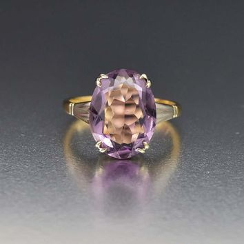 Art Deco White and Yellow Gold 6.5 Carat Amethyst Ring