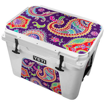 Multicolored Purple Paisley Background Skin for the Yeti Tundra Cooler