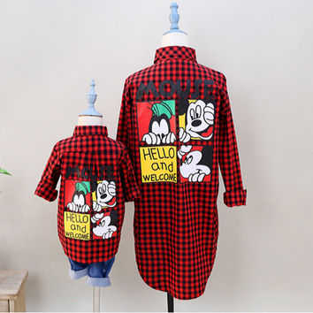 Family Matching Clothes Outfits T Shirt Mother Son Minnie Mouse Kids Clothing Mother and Daughter Clothes Mickey Grid Shirt wqy