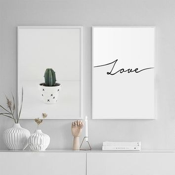 NUOMEGE Nordic Style Plant Cactus Poster Print Minimalist Wall Art Canvas Painting Shark LOVE Picture Home Decor