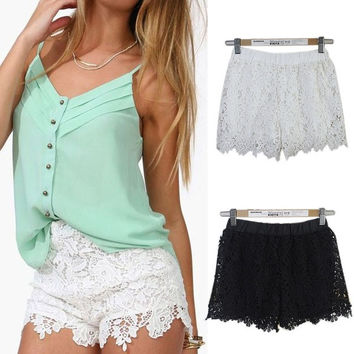 Perfect Summer Women Shorts Elastic High Waist Lace Casual Short Pants = 1695426756