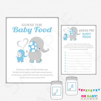Elephant Baby Shower Games Boy, Guess the Baby Food, Blue Elephant Baby Shower Printables, Elephant Baby Food Game, Instant Download, ELLBG