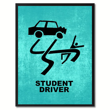 Student Driver Funny Sign Aqua Print on Canvas Picture Frames Home Decor Wall Art Gifts 91911