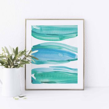 Ocean Abstract Blue Watercolor Painting Wall Art Print