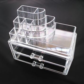 Luxury Acrylic Cosmetic Organizer Makeup Box 2 Drawers 1065*** Top and Bottom Set