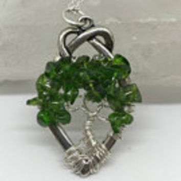 Chrome Diopside Gemstone,  Tree of Life, Silver Necklace,  Silver Wire Wrapped, Tree Of Life Pendant, Chrome Diopside Tree, Celtic Knot