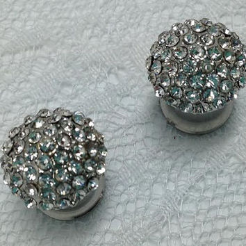 Fancy Silver Tone and Clear Jewel Wedding Pair Plugs Gauges Size: 0g (8mm)