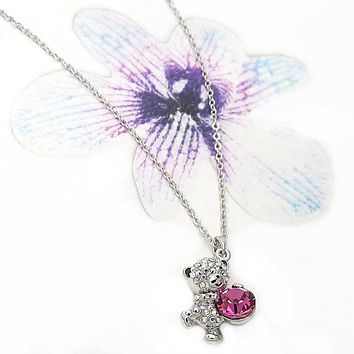Rhodium Layered Women Teddy Bear Fancy Necklace, with Rose Swarovski Crystals, by Folks Jewelry