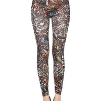 Multicolor Leopard Pattern High Waist Stretchy Leggings