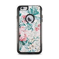 The Coral & Blue Grunge Watercolor Floral Apple iPhone 6 Plus Otterbox Commuter Case Skin Set