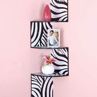 Zebra, Black or Purple Wooden Zig Zag Corner Shelf Wall Decor Space Saver Shelf