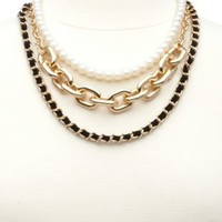 Pearl, Suede, & Chain Layered Necklace by Charlotte Russe - Gold