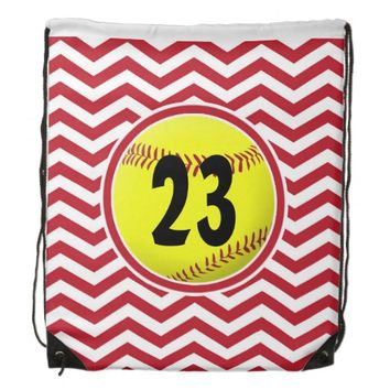 Red Chevron Custom Softball Drawstring Backpack
