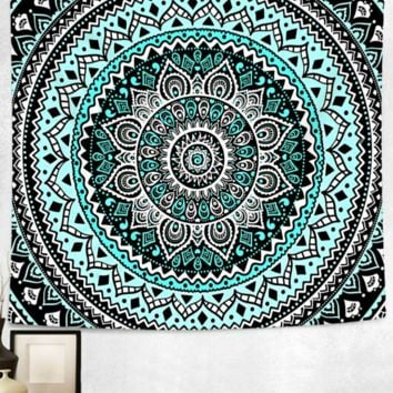 Teal Tale Boho Mandala Bed Wall Tapestry