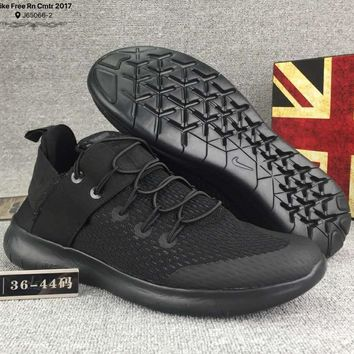 Nike Free Rn Cmtr Casual Women Men Running Sport Casual Shoes Sneakers Black G-CSXY