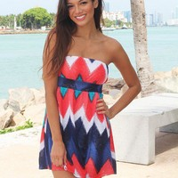 Coral and Navy Chevron Short Dress