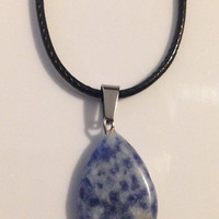 Blue Spotted Tear Drop Crystal Necklace Pendant