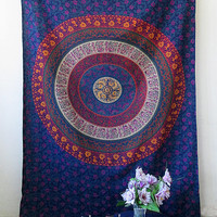 INDIAN TAPESTRY, Hippie Tapestry, Blue Small Indian Mandala Tapestry, Bohemian Tapestry, Hippie Tapestry Wall Hanging Bedspread