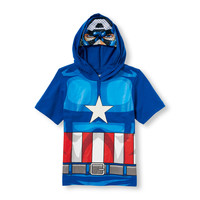 Toddler Boys Short Sleeve Captain America Glow-In-The-Dark Hoodie | The Children's Place