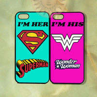 Wonderwoman and Superman Couple Cases -iPhone 5, 4s, iphone 4 case, ipod 5, Samsung GS3-Silicone Rubber or Hard Plastic Case, Phone cover