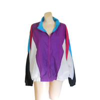90s Windbreaker 80s Windbreaker Women Windbreaker Jacket Plus Size Jacket Wind Breaker Purple Jacket Nylon Jacket Retro Windbreaker Light