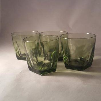Green Thumbprint CUT Tumblers, Rocks Glasses