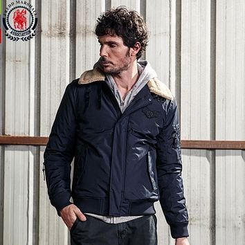Men's Winter Patchwork Patch Designs Casual Jackets And Coats Men Fur Stand Collar Thick Parkas Outerwear