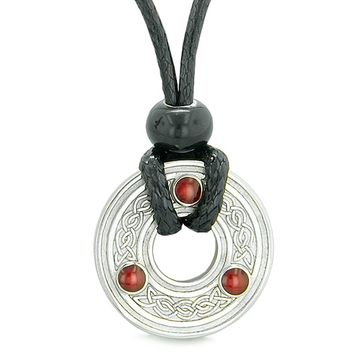 Small Amulet Celtic Triquetra Knot Lucky Coin Charm Pendant on Adjustable Cord Necklace