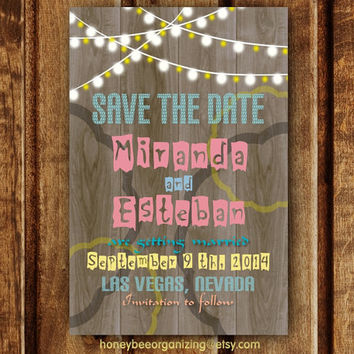 Printable Save the Date Invitation - DIY Rustic Wedding Invitation - String Lights Invitation - DIY Save the Date - Save the Date Lights