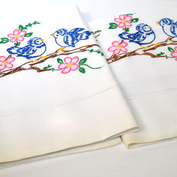 Vintage Bluebird Pillowcase Set, Birds in Dogwood Tree, Pink Blue Brown and Green, Hand Embroidered, Pillow Case Pair, Cotton 19 x 32