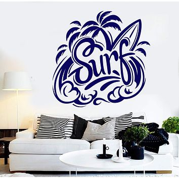 Vinyl Wall Decal Beach Style Surfing Surfer Water Sports Stickers Unique Gift (884ig)