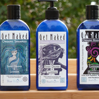 Get Naked Shower Organics Shampoo, Conditioner & Body Wash Threesome Bundle