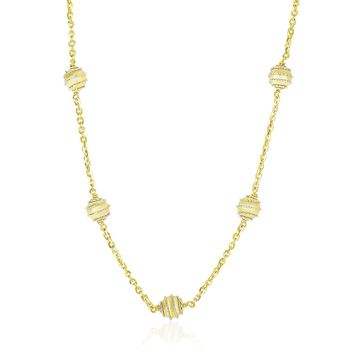 14K Two-Tone Gold Ball with Coil Station Chain Necklace