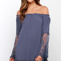 Fallen from Lace Denim Blue Lace Off-the-Shoulder Dress