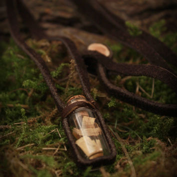 FREE SHIPPING - Minimalist Palo Santo vial necklace • Bottle necklace • Pagan jewelry • Witch necklace • Wiccan • Upcycled jewelry