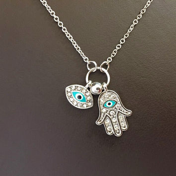 Hamsa hand and turkey evil eye charm necklace