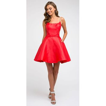 Embellished Strappy-Back Homecoming Short Dress Red