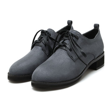 Round Toe Lace Up Women Shoes Low Chunky Heels 4506