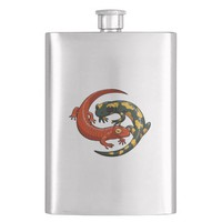 Two Colourful Smiling Salamanders Entwined Cartoon Flask