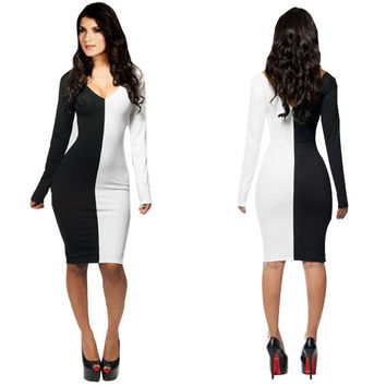 Black And White V Neck Long Sleeve Bodycon Midi Dress