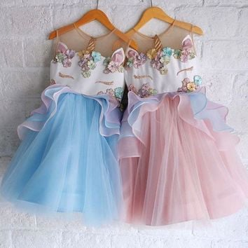 US Fancy Chiffon Unicorn Toddler Kids Girls Bridesmaid Formal TuTu Dress Pageant