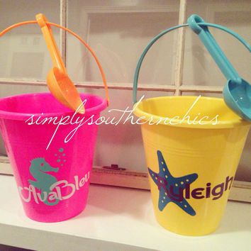 Personalized Sand Bucket - Monogrammed Sand Bucket - Personalized Sand Pail