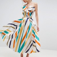 ASOS SALON Bow Front Stripe Prom Midi Dress at asos.com